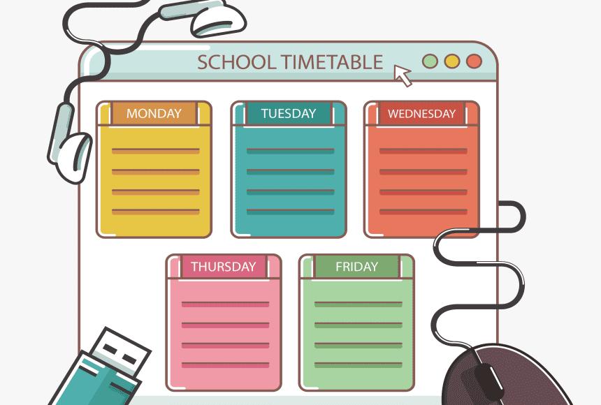 جدول اسبوعي لتنظيم الوقت